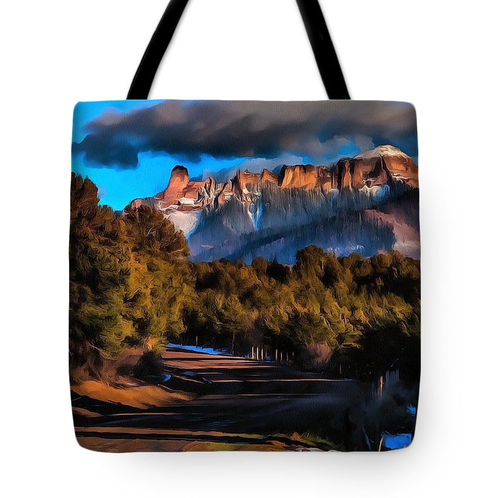 Colorado Landscape Painting Tote Bag featuring the digital art The Cimarrons by Fine Art Western Paintings