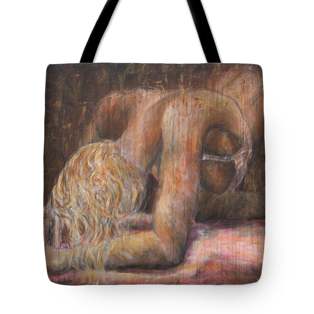 Erotic Tote Bag featuring the painting The Crying Game by Nik Helbig