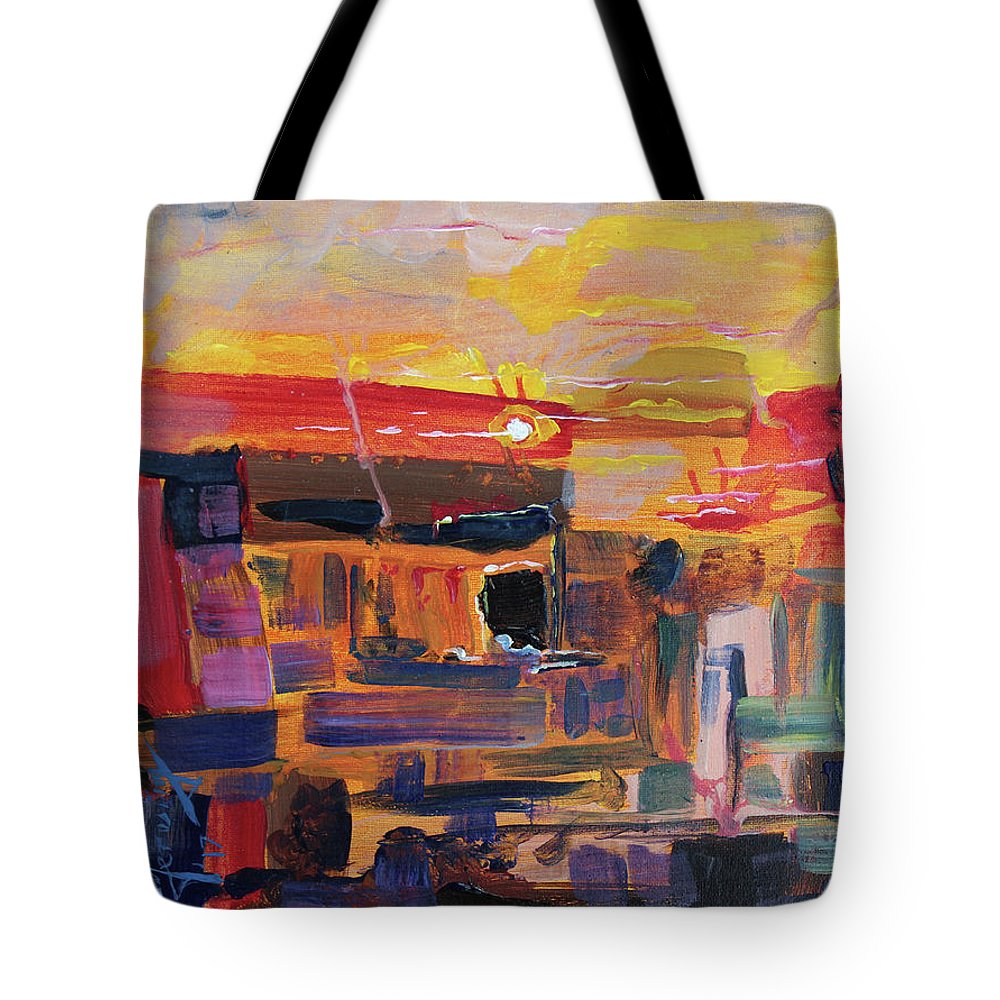 Tote Bag featuring the painting The Darker Cavern - Original Acrylic 16x12 by Doug Jerving