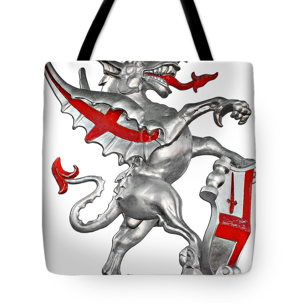 Dragon Tote Bag featuring the photograph The Dragon Symbol of the City of London by Christine Till