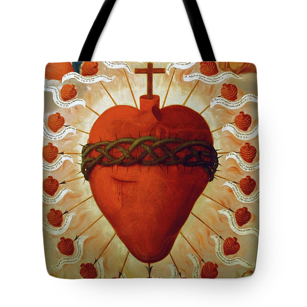 Feast Tote Bag featuring the painting The Feast Of The Sacred Heart Of Jesus, 1747 by Fray Miguel de Herrera