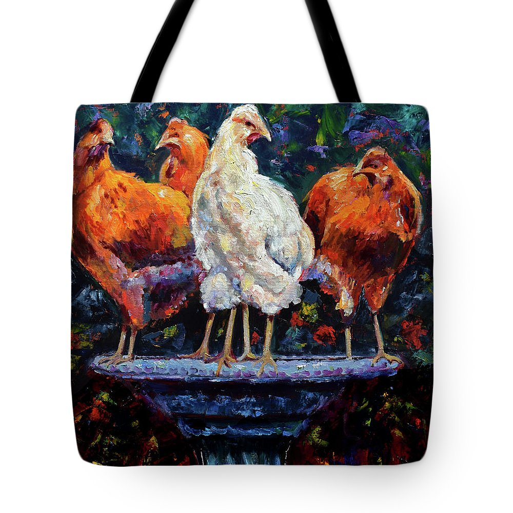Chickens Tote Bag featuring the painting The Girls by Debra Hurd