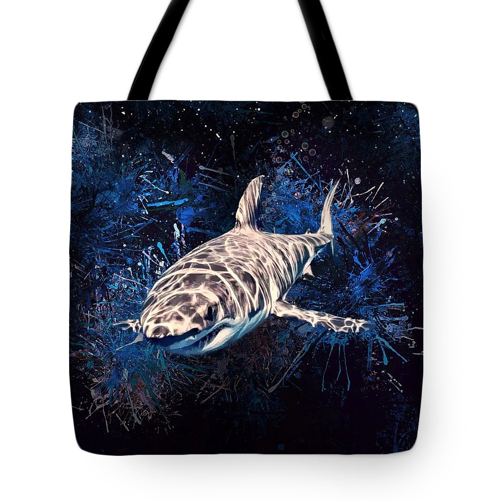 Shark Tote Bag featuring the digital art The Great White Shark by Scott Wallace Digital Designs