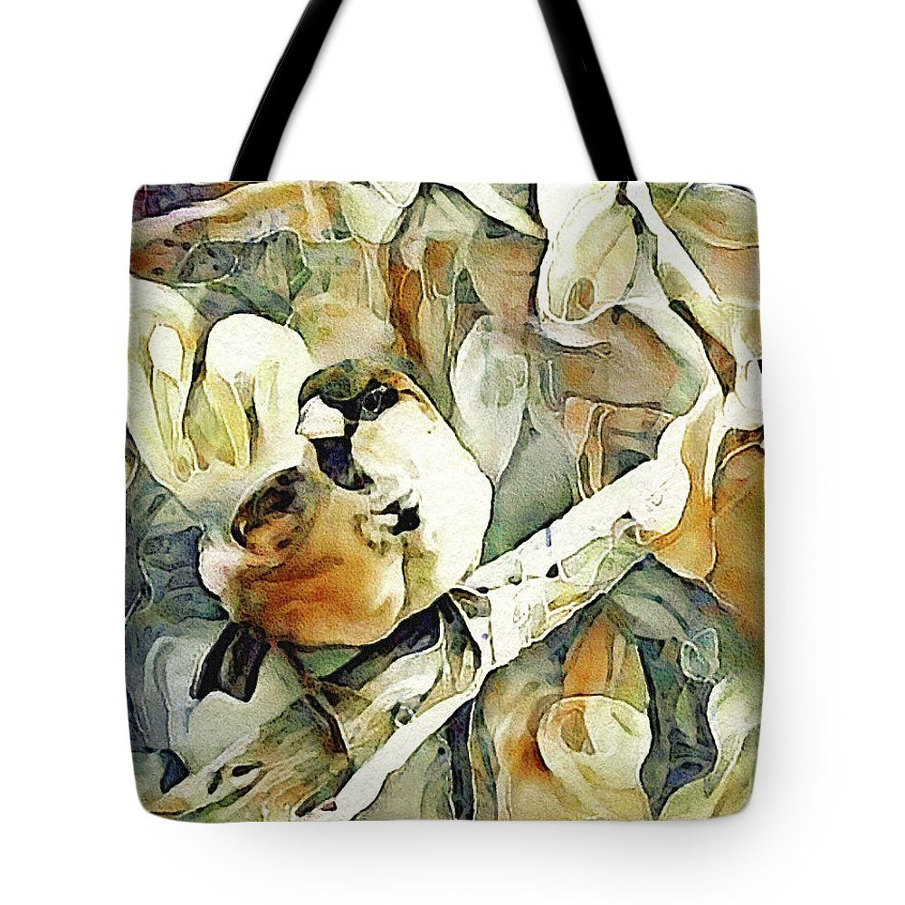 Inquisitive Sparrow Tote Bag featuring the mixed media The Inquisitive Sparrow by Susan Maxwell Schmidt