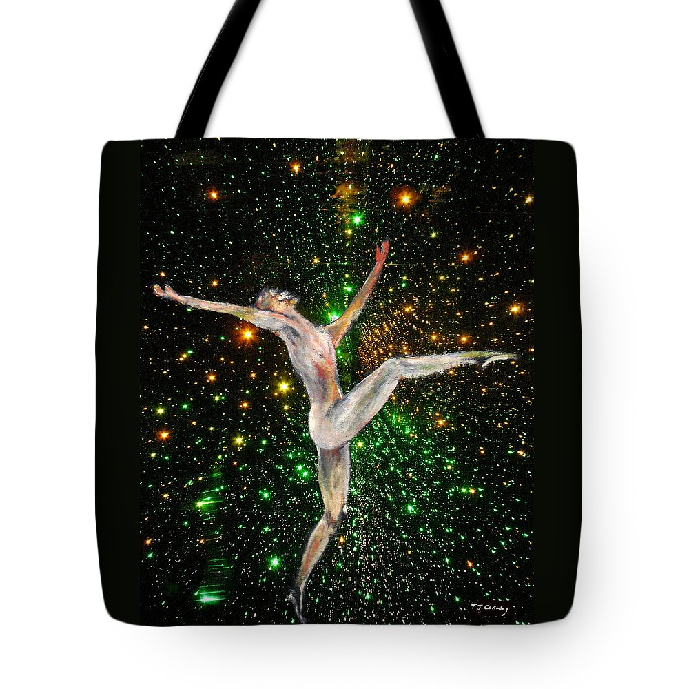 Dance Tote Bag featuring the painting The Light Fantastic Dance and Stars by Tom Conway