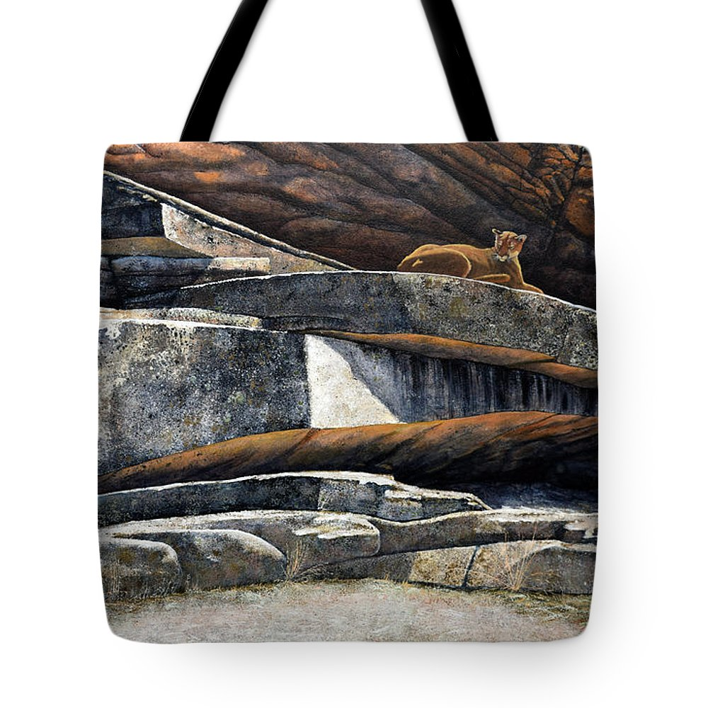 Wildlife Tote Bag featuring the painting The Loner Cougar by Frank Wilson