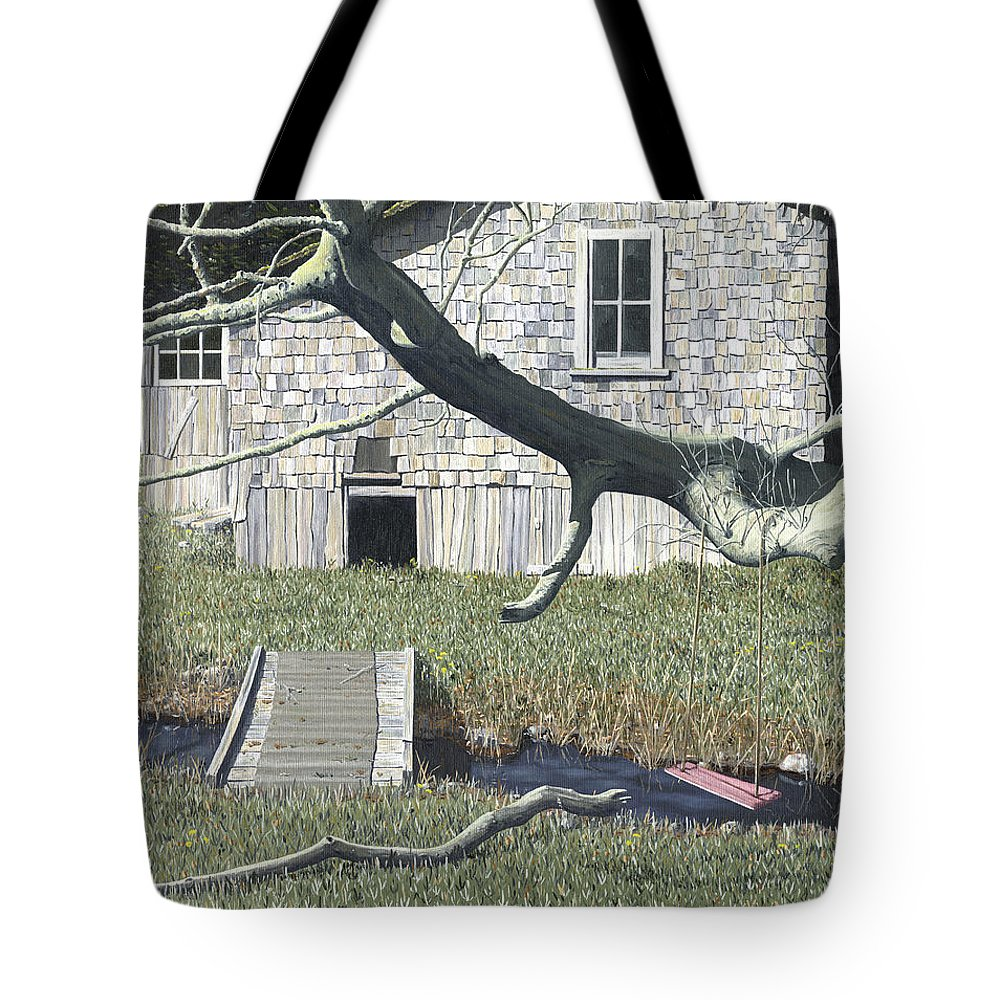Landscape Tote Bag featuring the painting The old swing by Gary Giacomelli