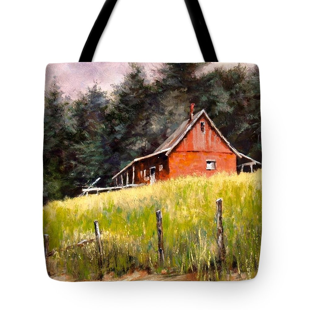 Landscape Tote Bag featuring the painting The Red Coach Stop by Jim Gola