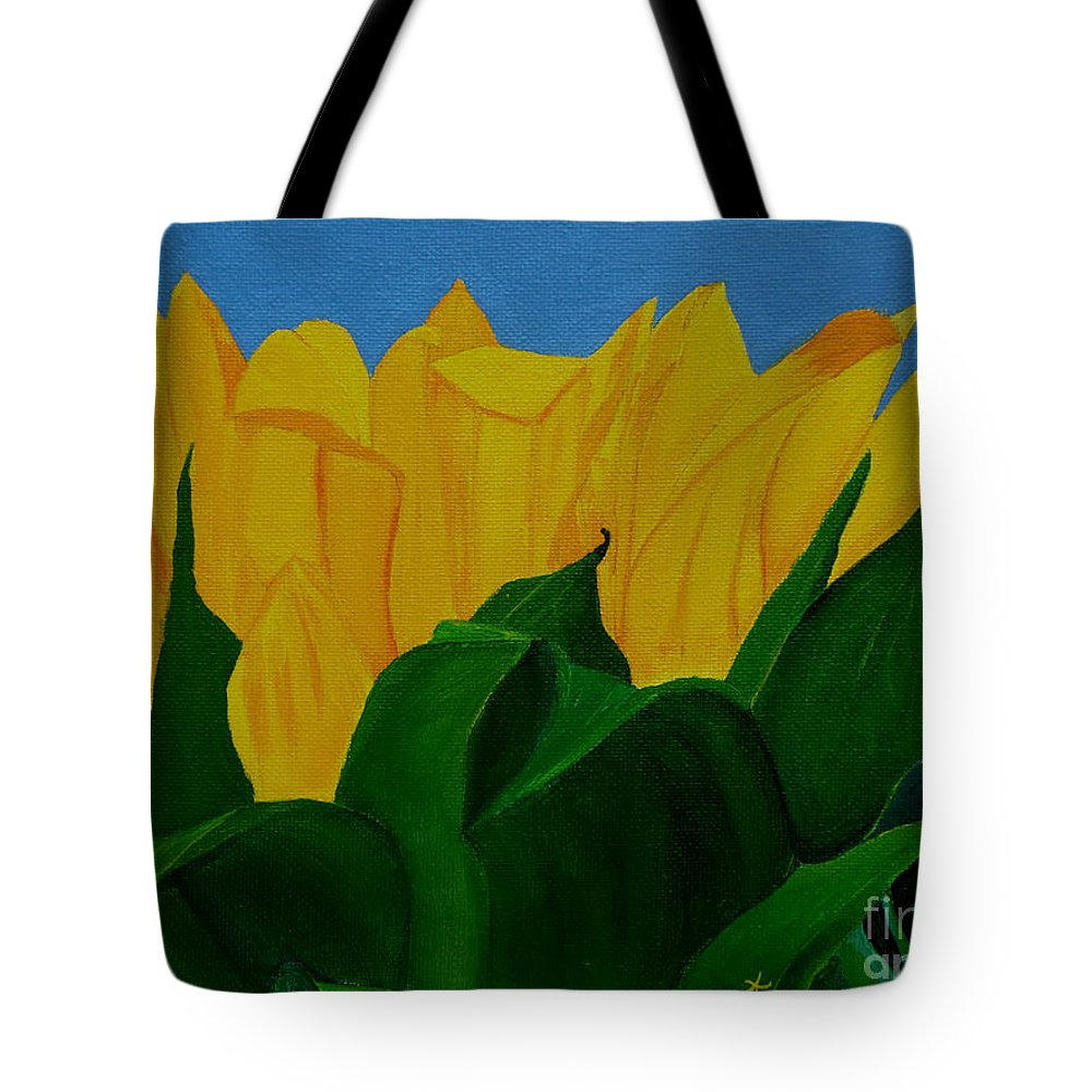 Sunflower Tote Bag featuring the painting The Rising Sun by Anthony Dunphy