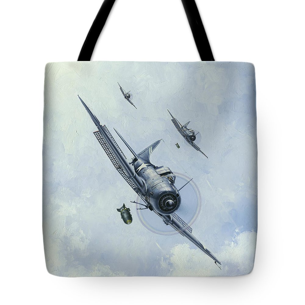Sbd Dauntless Tote Bag featuring the painting The Silver Waterfall by Wade Meyers