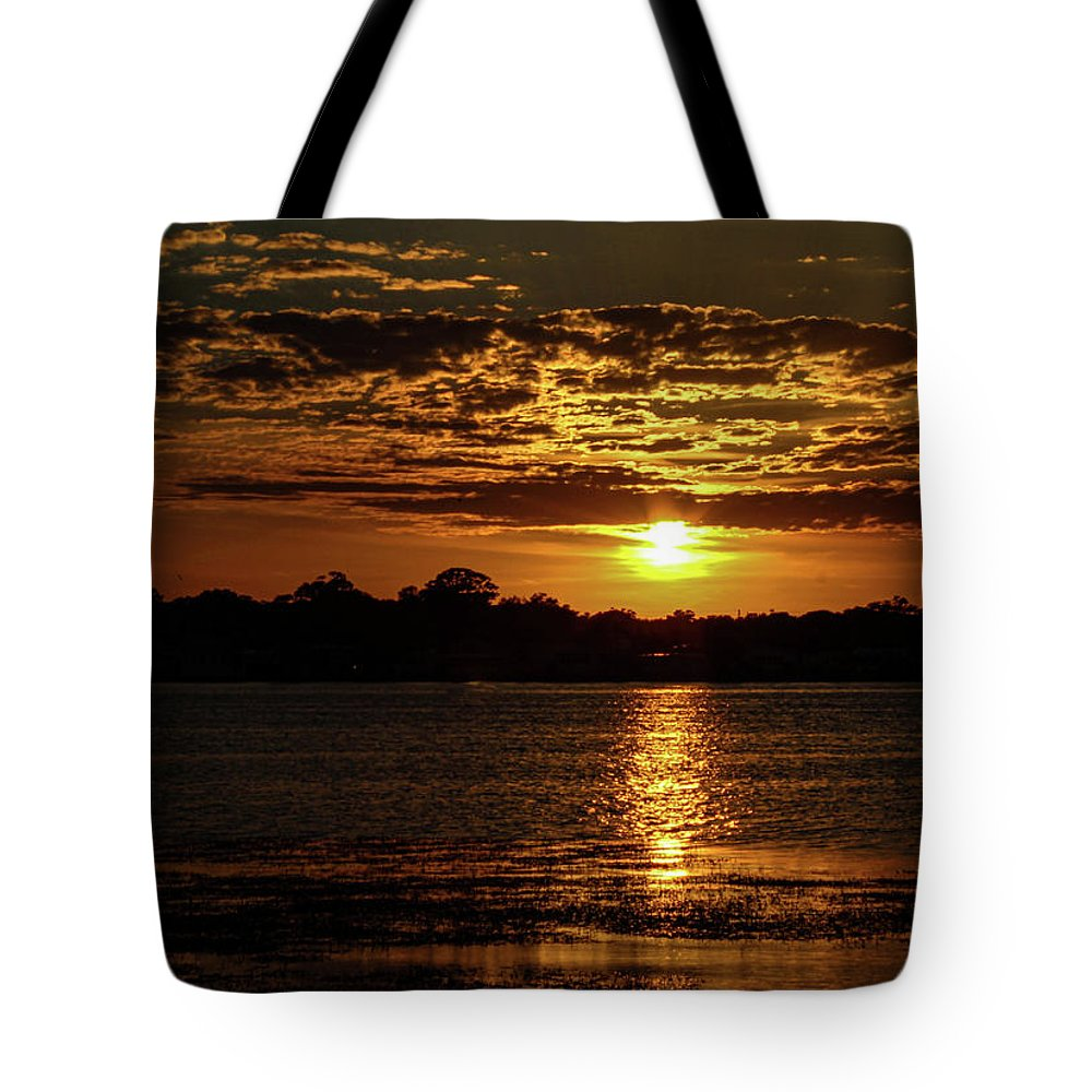 Sunset Tote Bag featuring the photograph The Sunset over the Lake by Daniel Cornell