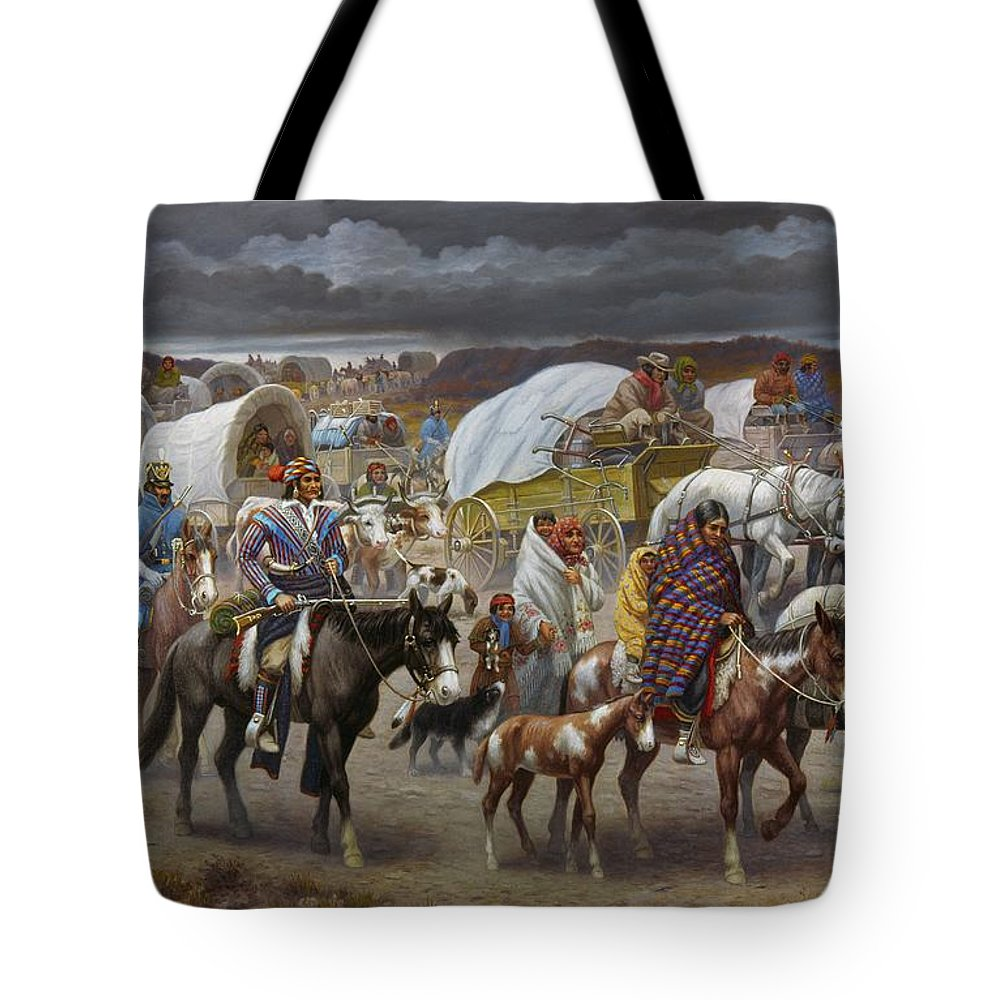 1838 Tote Bag featuring the painting The Trail Of Tears by Granger