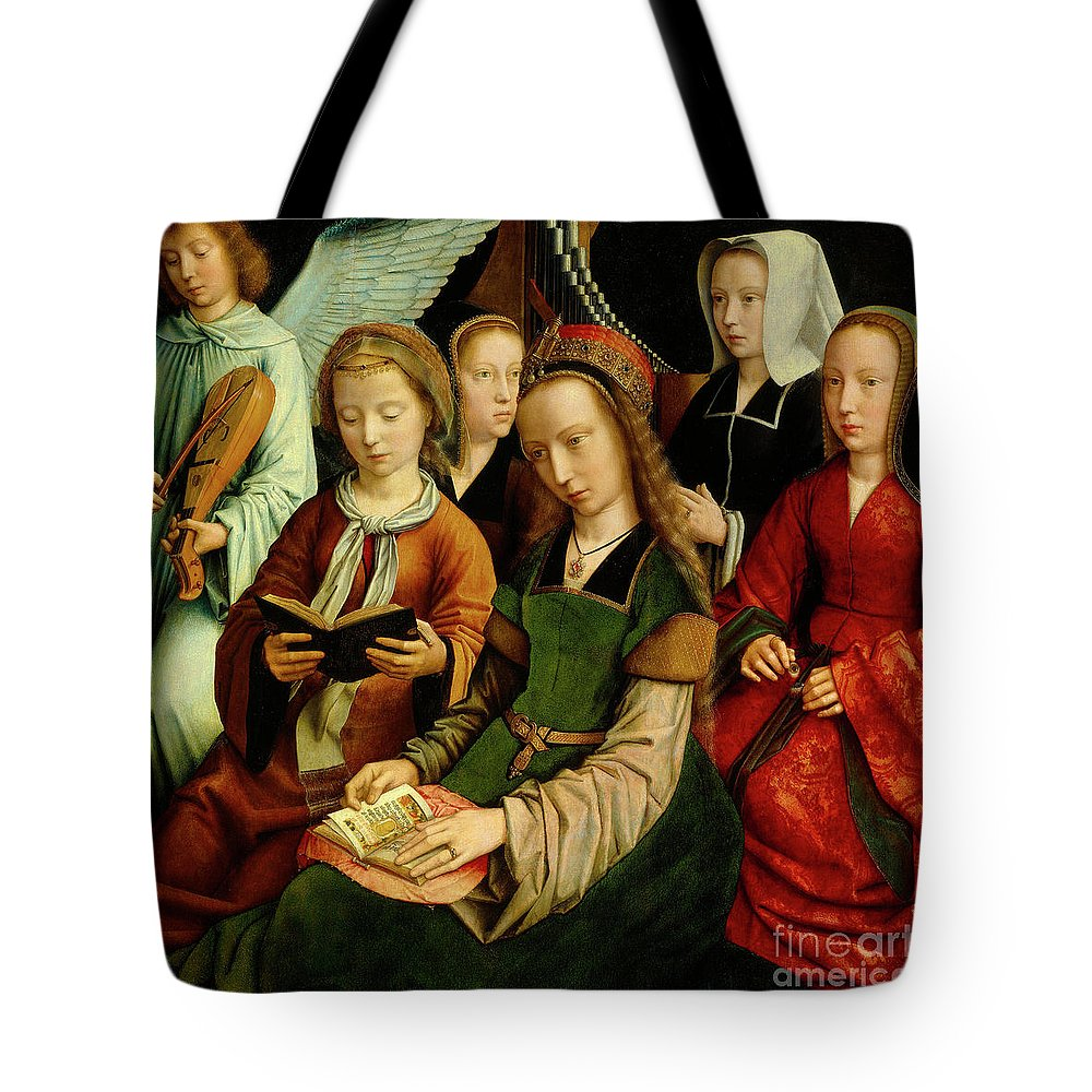 St Tote Bag featuring the painting The Virgin Among The Saints, Detail by Gerard David