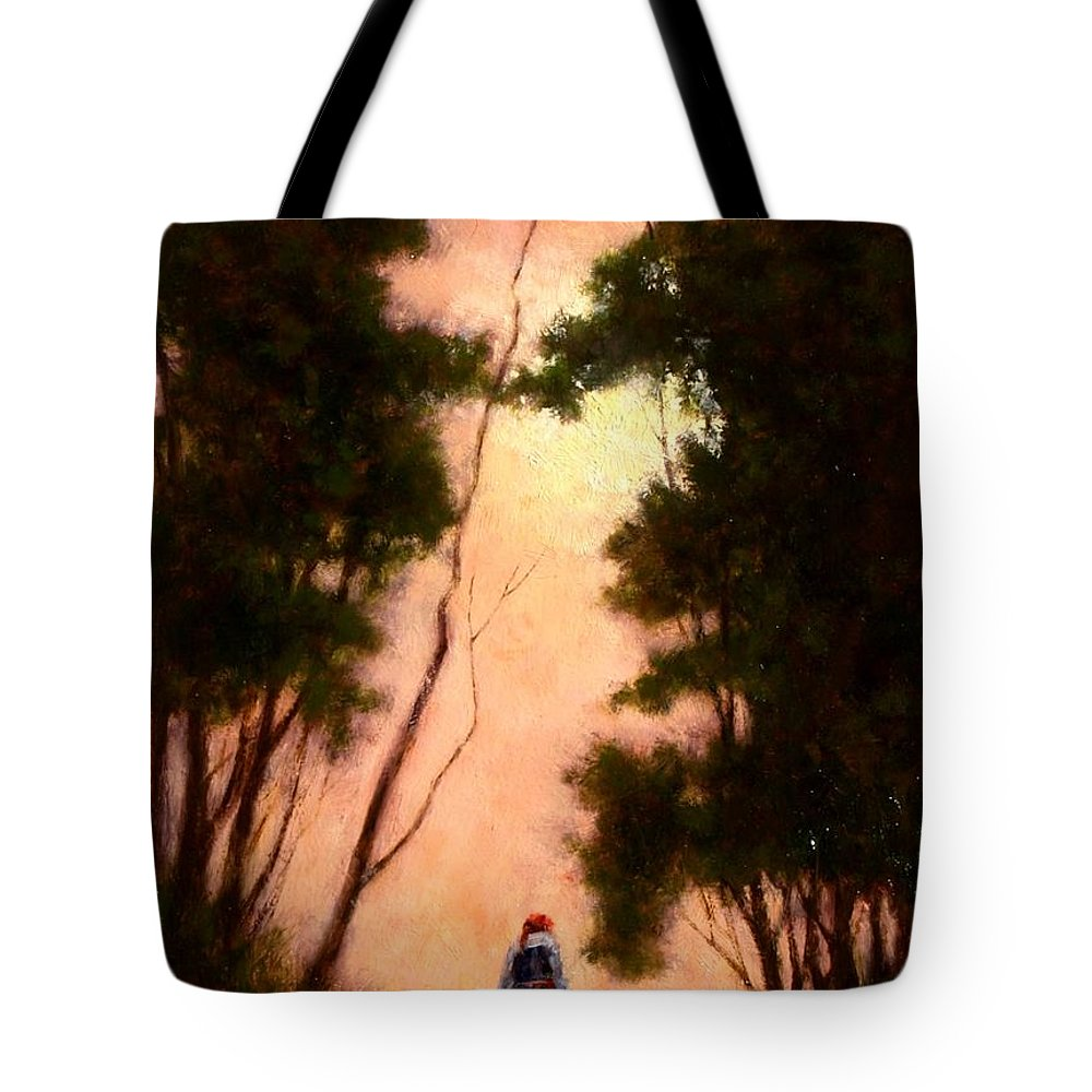 Landscape. Oil Painting Tote Bag featuring the painting The Walk Home by Jim Gola