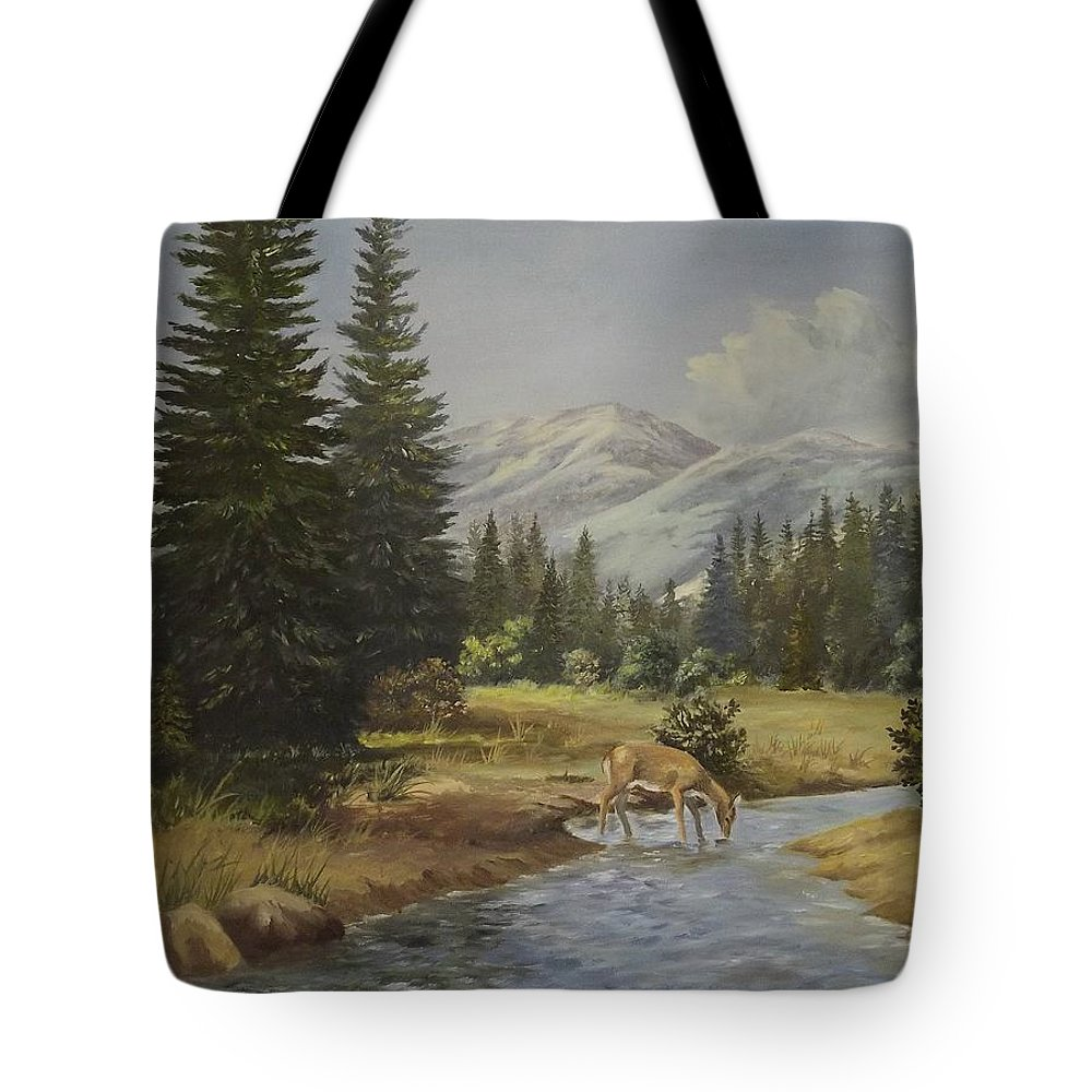 Mountains Tote Bag featuring the painting The Wildlife Trail by Wanda Dansereau