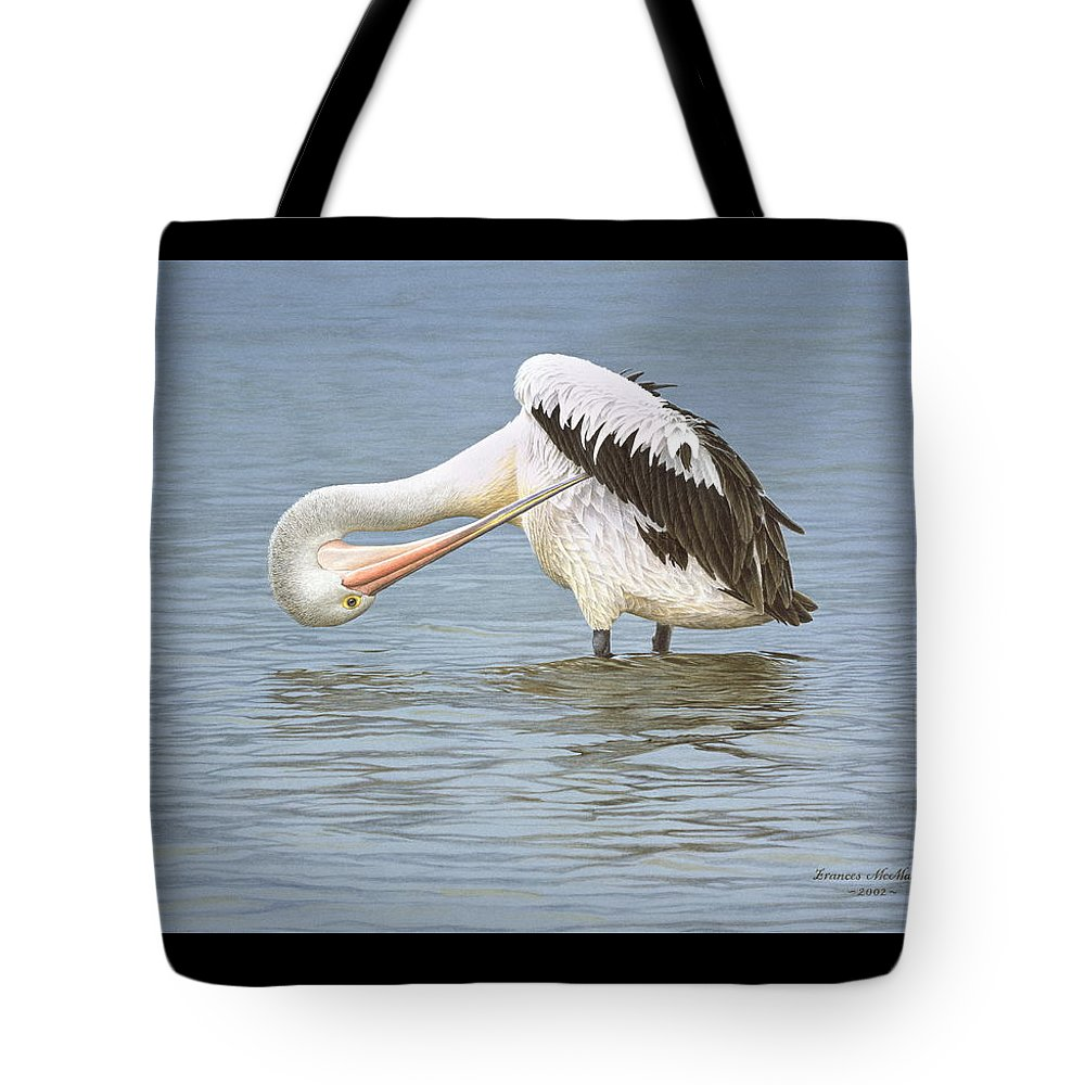 Bird Tote Bag featuring the painting Those Hard to Reach Places - Australian Pelican by Frances McMahon