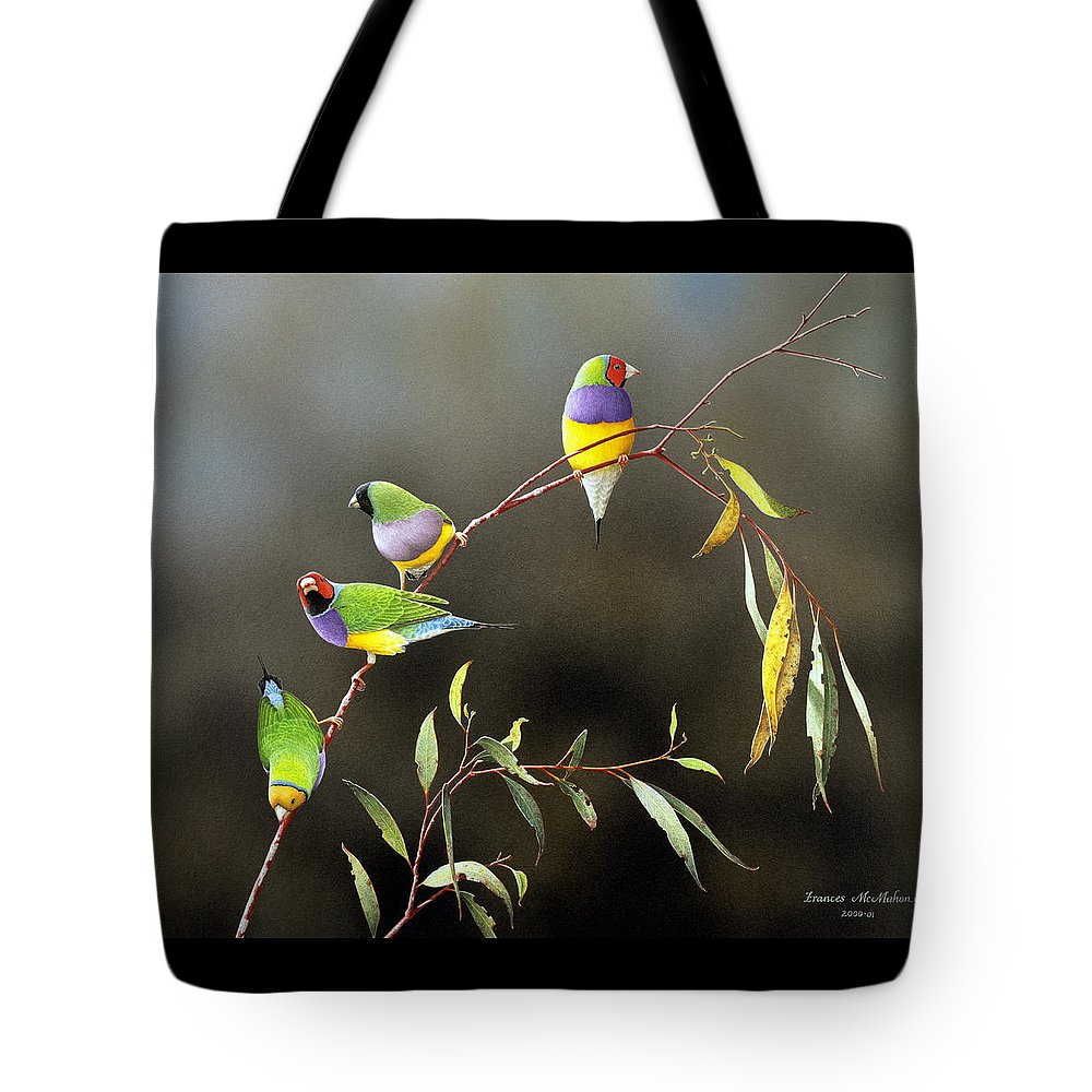 Bird Tote Bag featuring the painting Three Guys for Every Girl - Gouldian Finches by Frances McMahon
