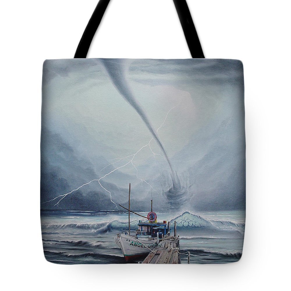Seascape Tote Bag featuring the painting Tifon   water sprout by Angel Ortiz