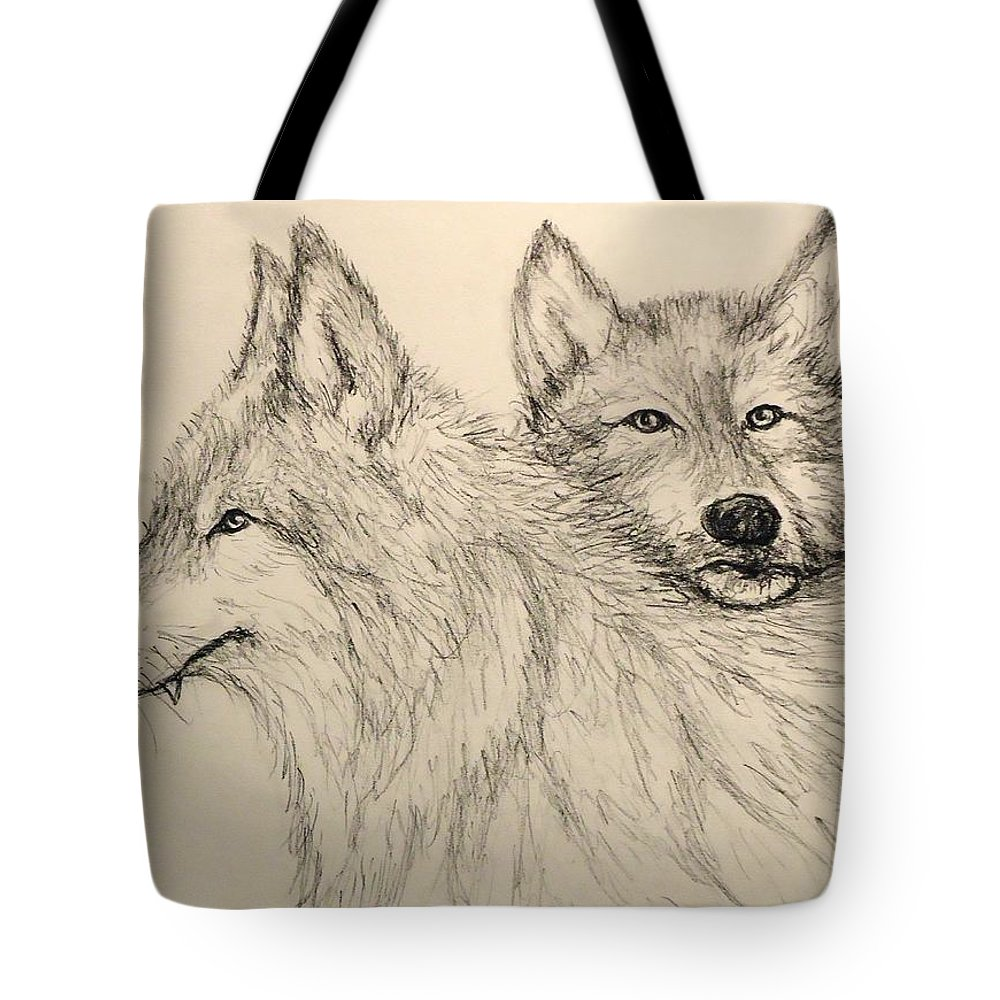 Wolves Tote Bag featuring the drawing Timberwolf by Pete Maier