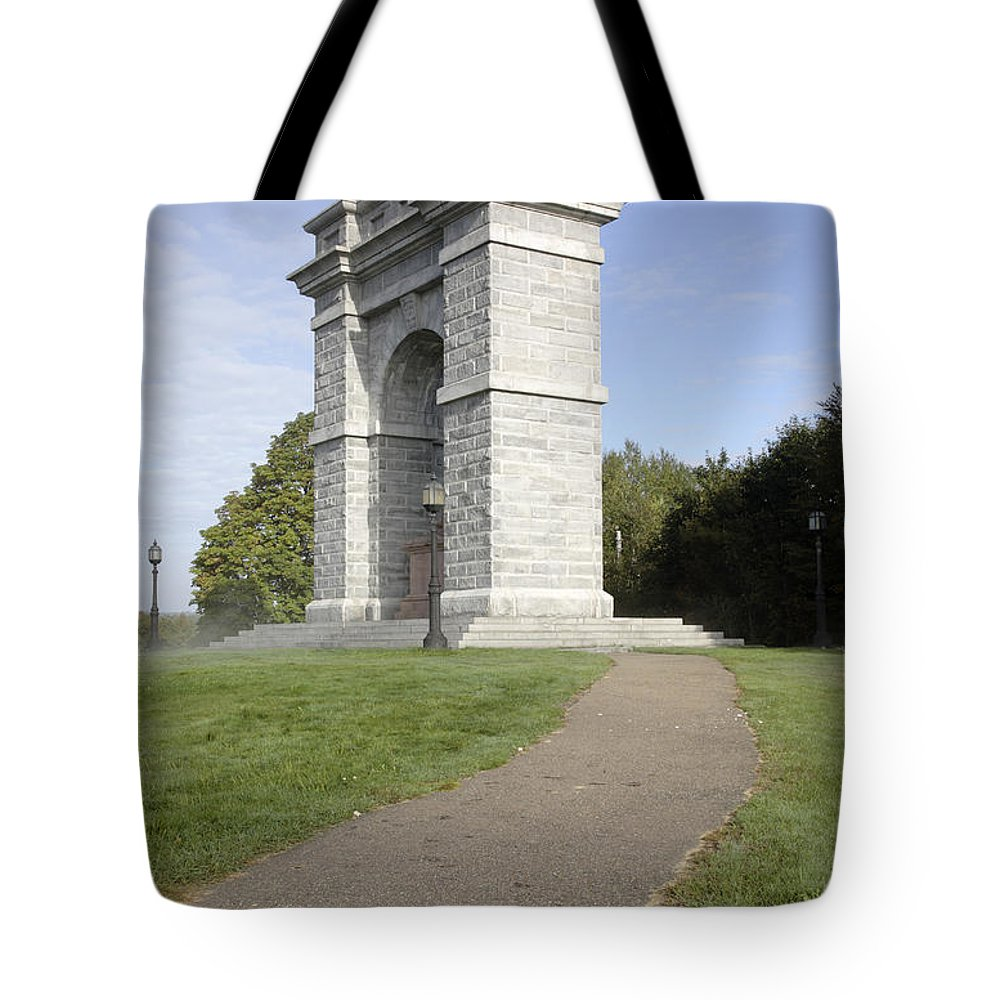 Landscape Tote Bag featuring the photograph Titus Arch Replica - Northfield NNew Hampshire by Erin Paul Donovan