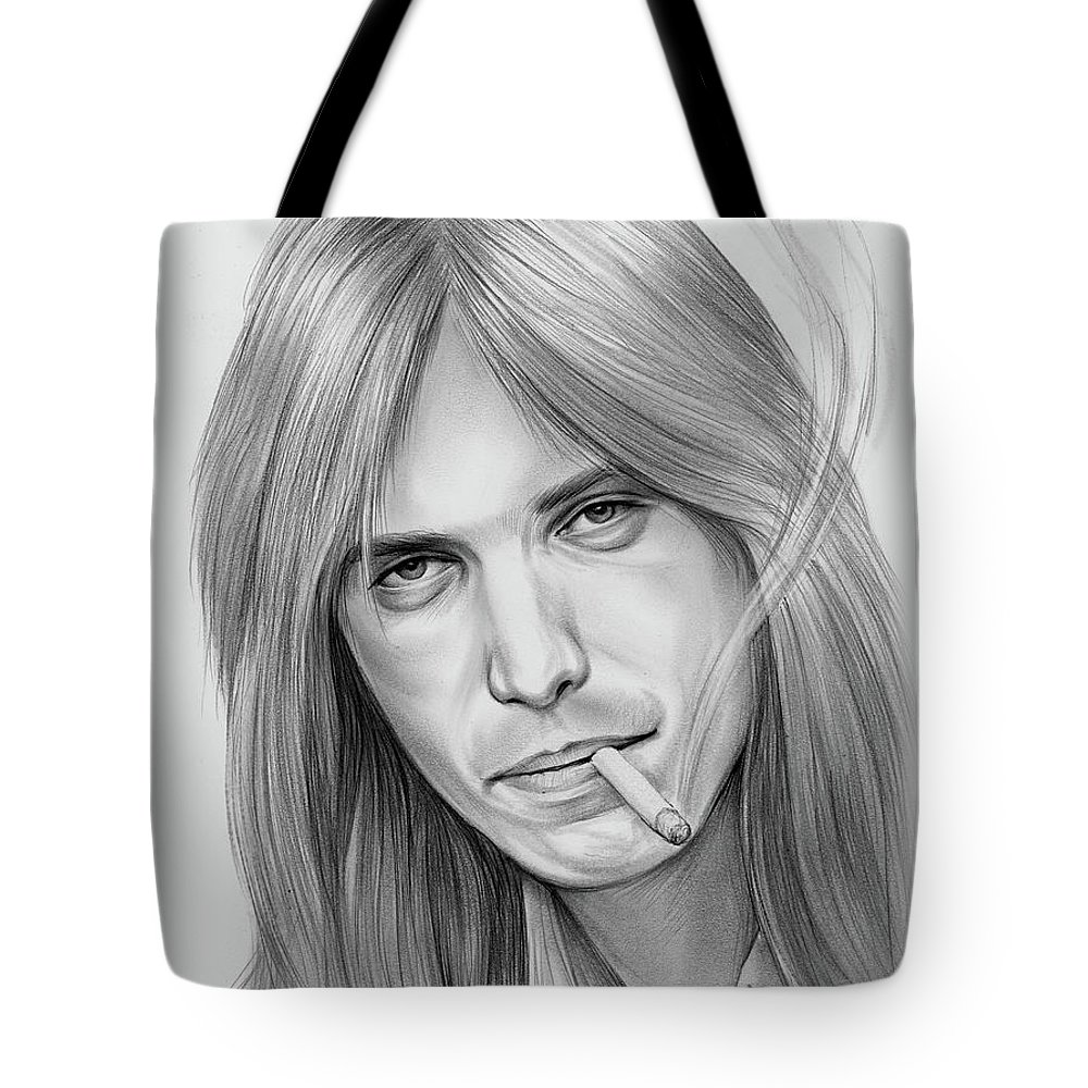 Tom Petty Tote Bag featuring the drawing Tom Petty - Pencil by Greg Joens