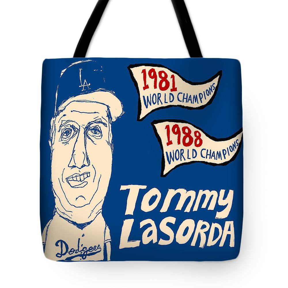 Los Angeles Dodgers Tote Bag featuring the painting Tommy Lasorda Los Angeles Dodgers by JB Perkins
