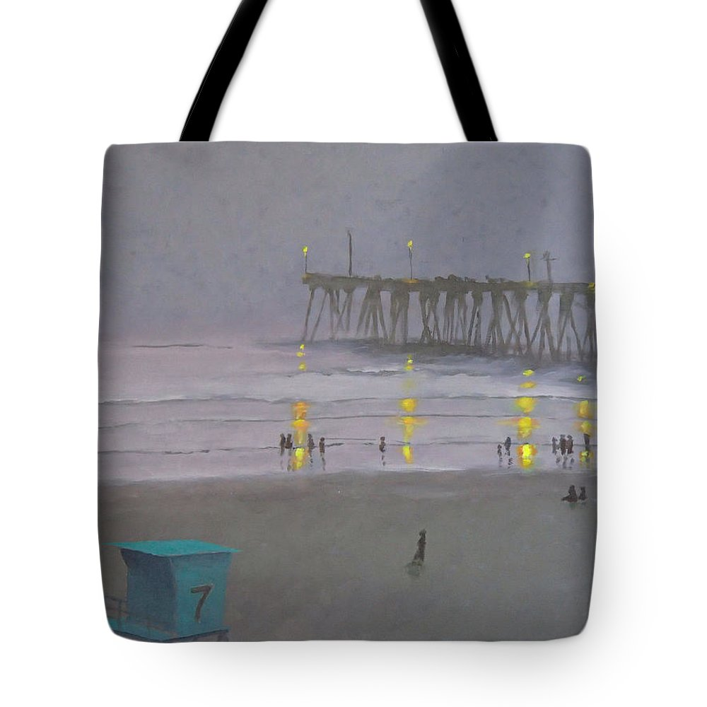 Evening Tote Bag featuring the painting Tower Number Seven Evening by Philip Fleischer
