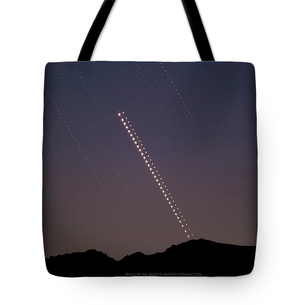 Tote Bag featuring the photograph Trails of the Great Planetary Conjunction by Prabhu Astrophotography