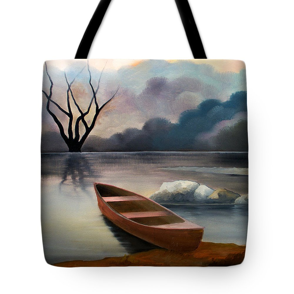 Duck Tote Bag featuring the painting Tranquility by Sergey Bezhinets