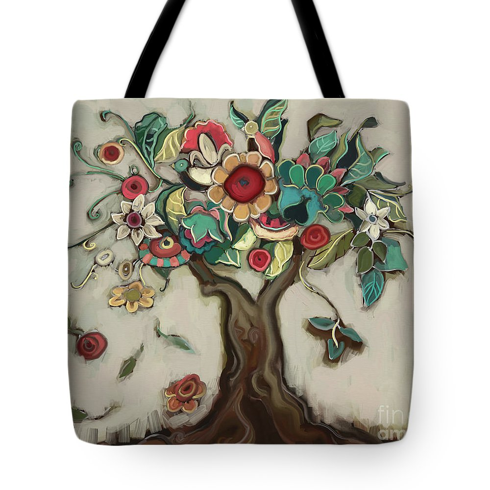 Tree Tote Bag featuring the painting Tree and Plenty by Carrie Joy Byrnes