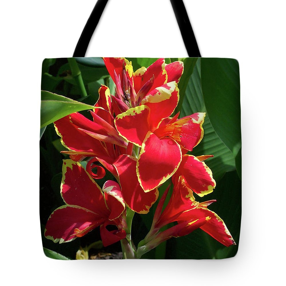 Flower Tote Bag featuring the photograph Tropical Red Flower by Trevor Slauenwhite