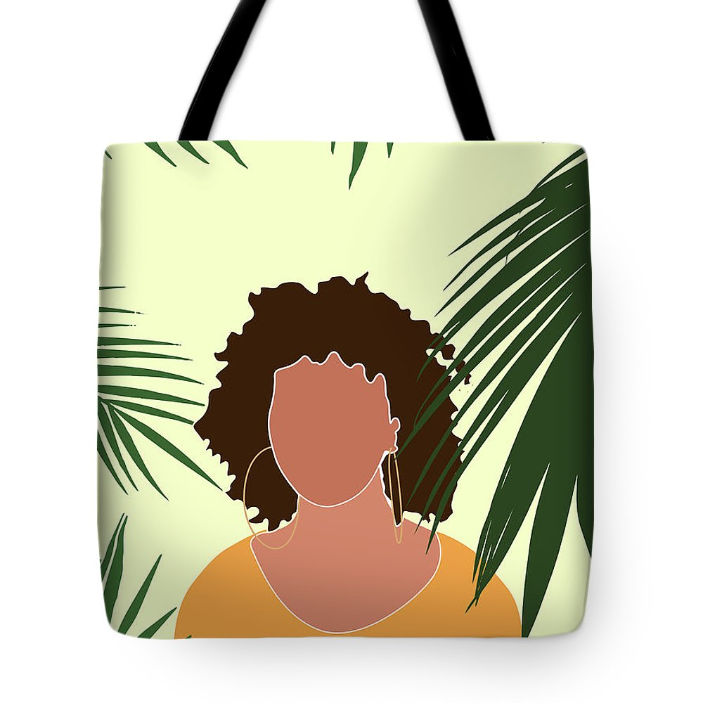 Tropical Tote Bag featuring the mixed media Tropical Reverie 8 - Modern, Minimal Illustration - Girl And Palm Leaves - Aesthetic Tropical Vibes by Studio Grafiikka