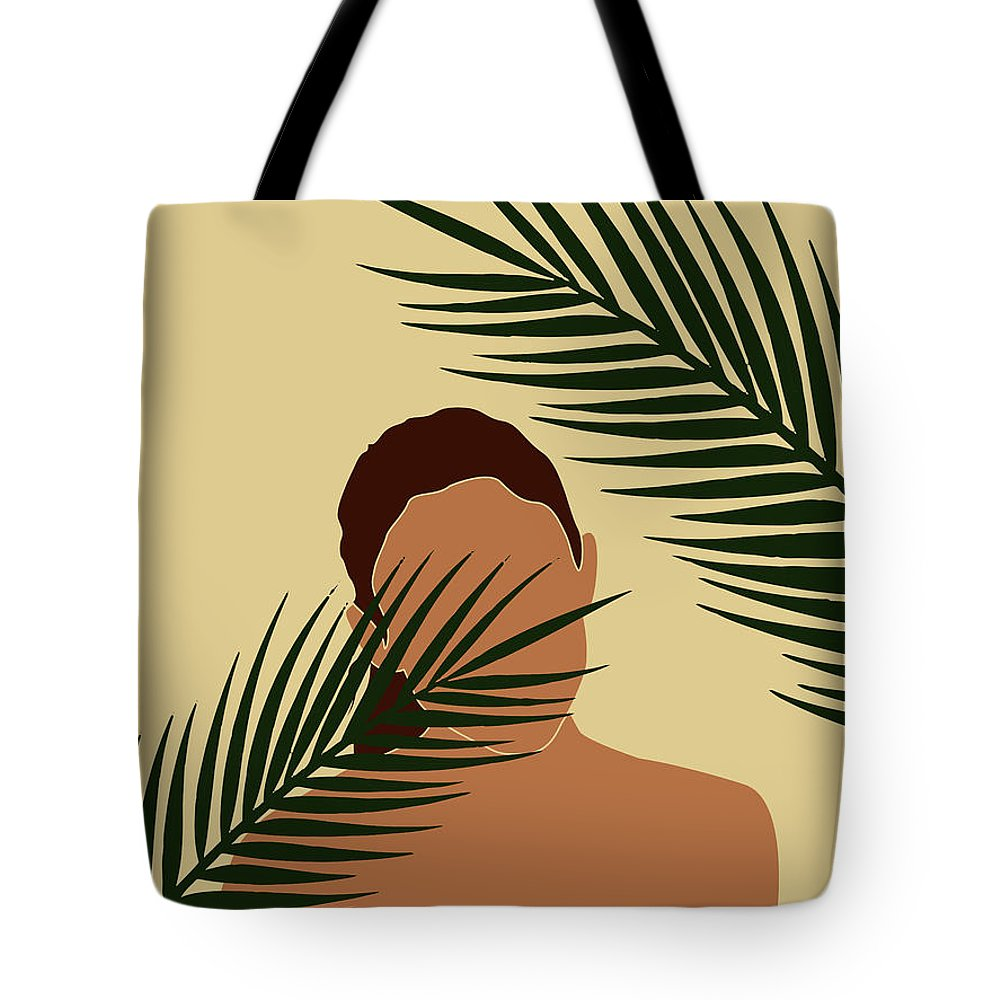 Tropical Reverie Tote Bag featuring the mixed media Tropical Reverie - Modern Minimal Illustration 14 - Girl, Palm Leaves - Tropical Aesthetic - Brown by Studio Grafiikka