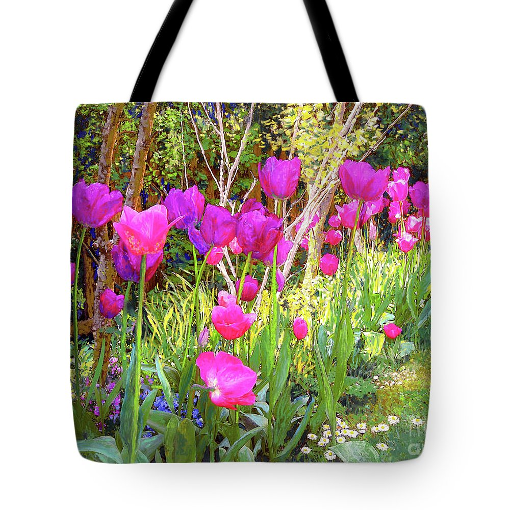 Floral Tote Bag featuring the painting Tulip Beauty by Jane Small