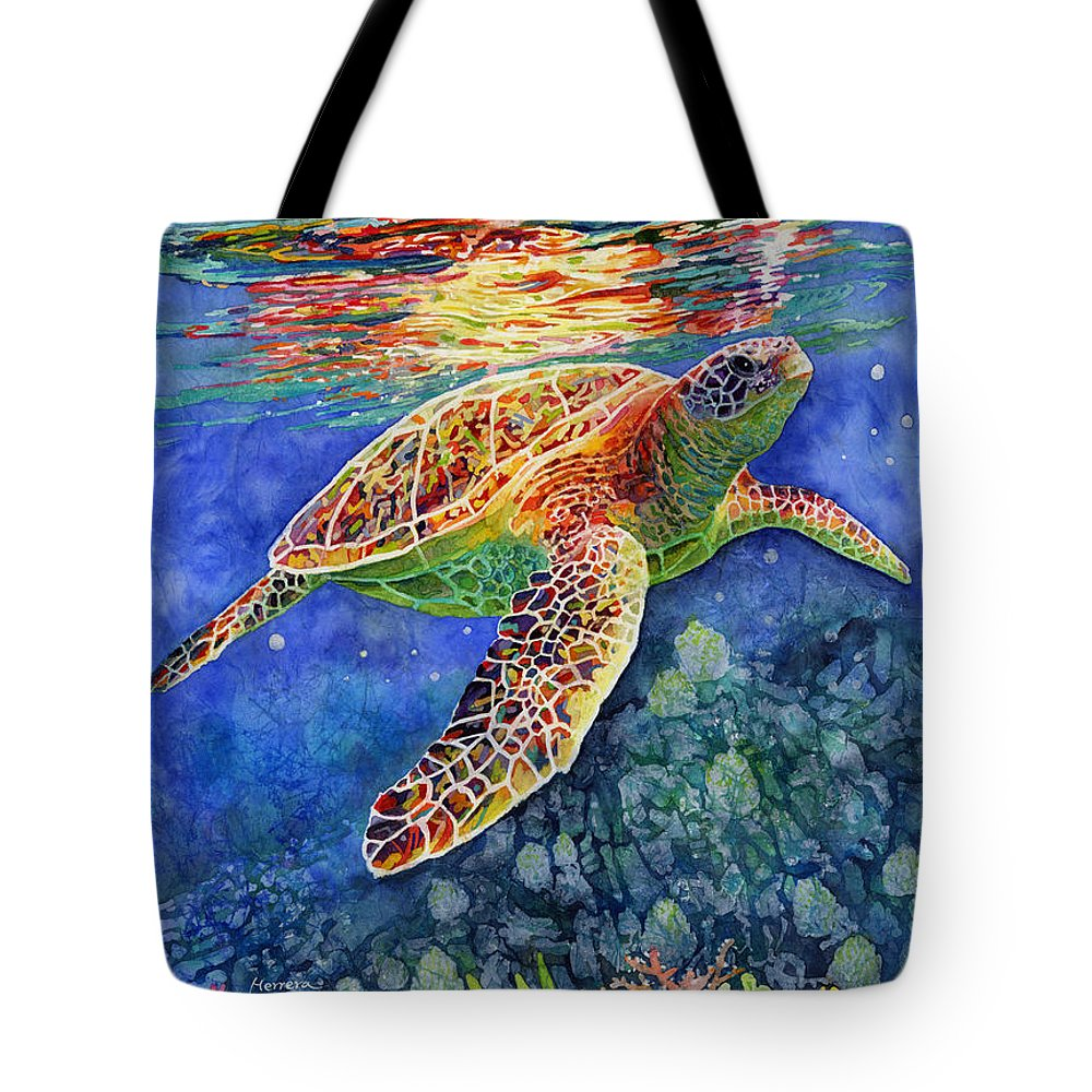 Turtle Tote Bag featuring the painting Turtle Reflections by Hailey E Herrera