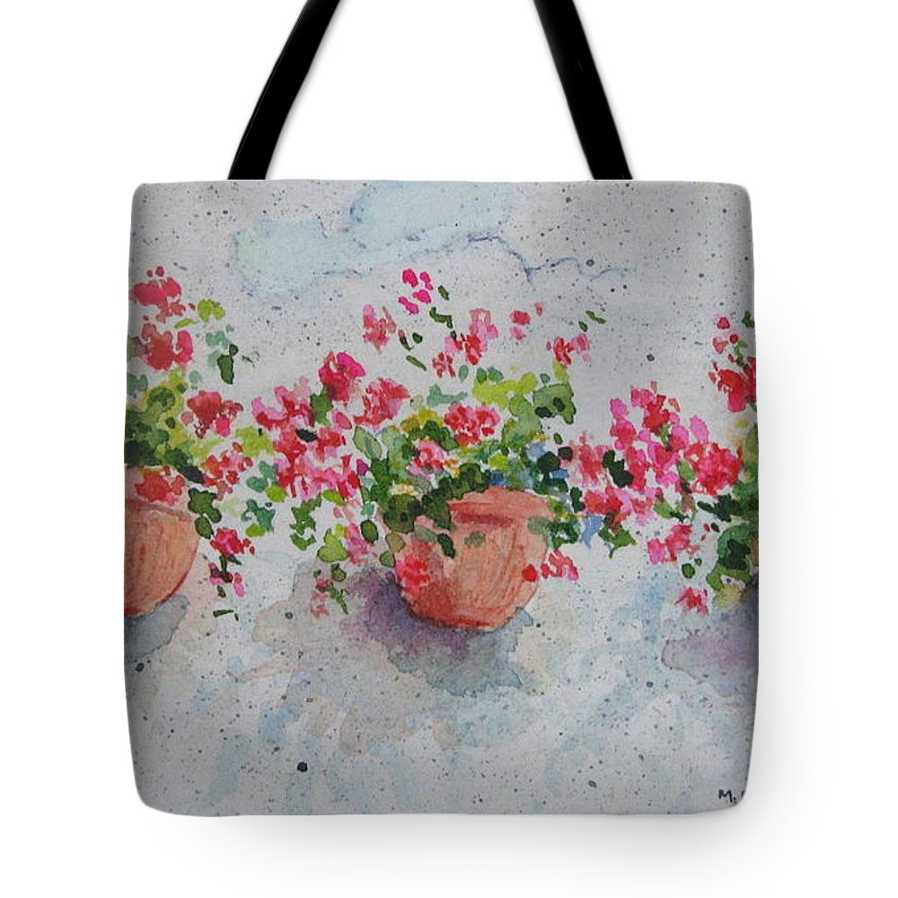 Florals Tote Bag featuring the painting Tuscan Flowers by Mary Ellen Mueller Legault