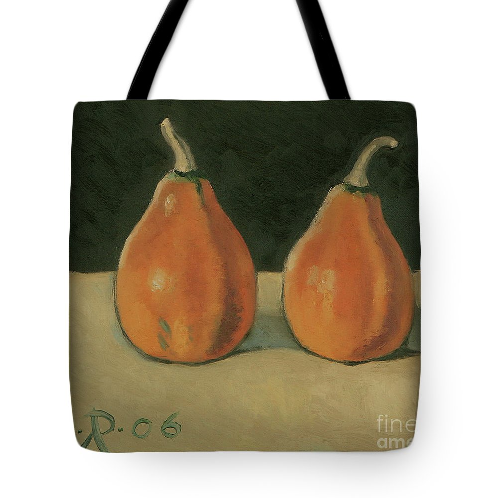 Still-life Pumpkins Orange Tote Bag featuring the painting Two Orange Pumpkins by Raimonda Jatkeviciute-Kasparaviciene