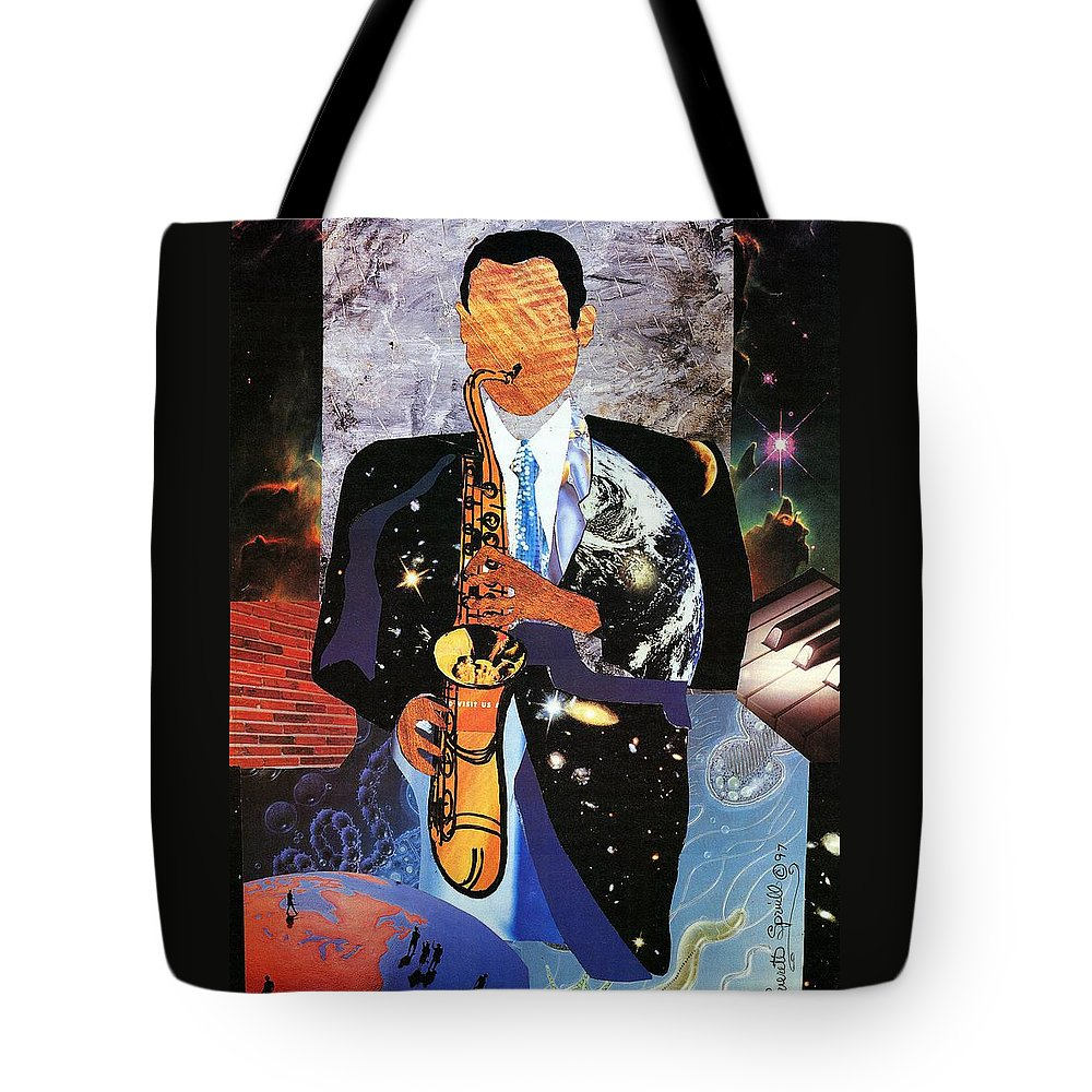 Everett Spruill Tote Bag featuring the painting Universal Sax by Everett Spruill