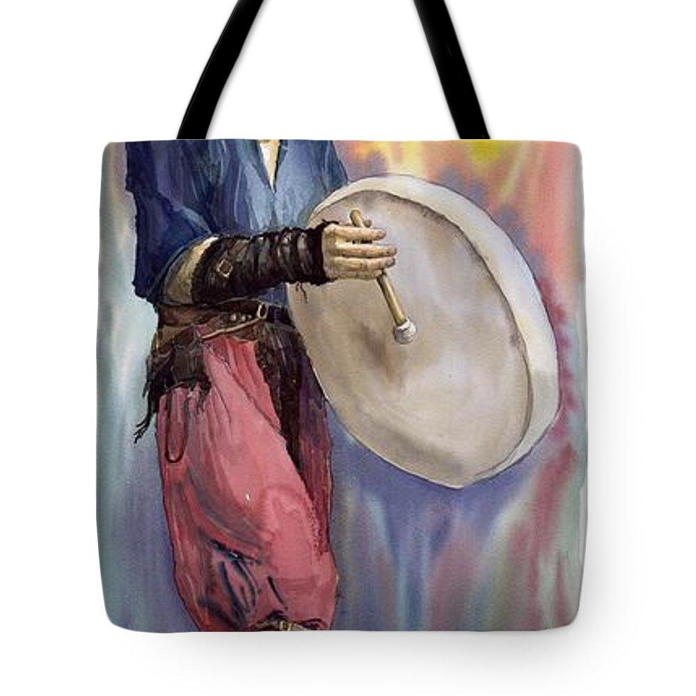 Watercolor Tote Bag featuring the painting Varius Coloribus Steve O Klat by Yuriy Shevchuk