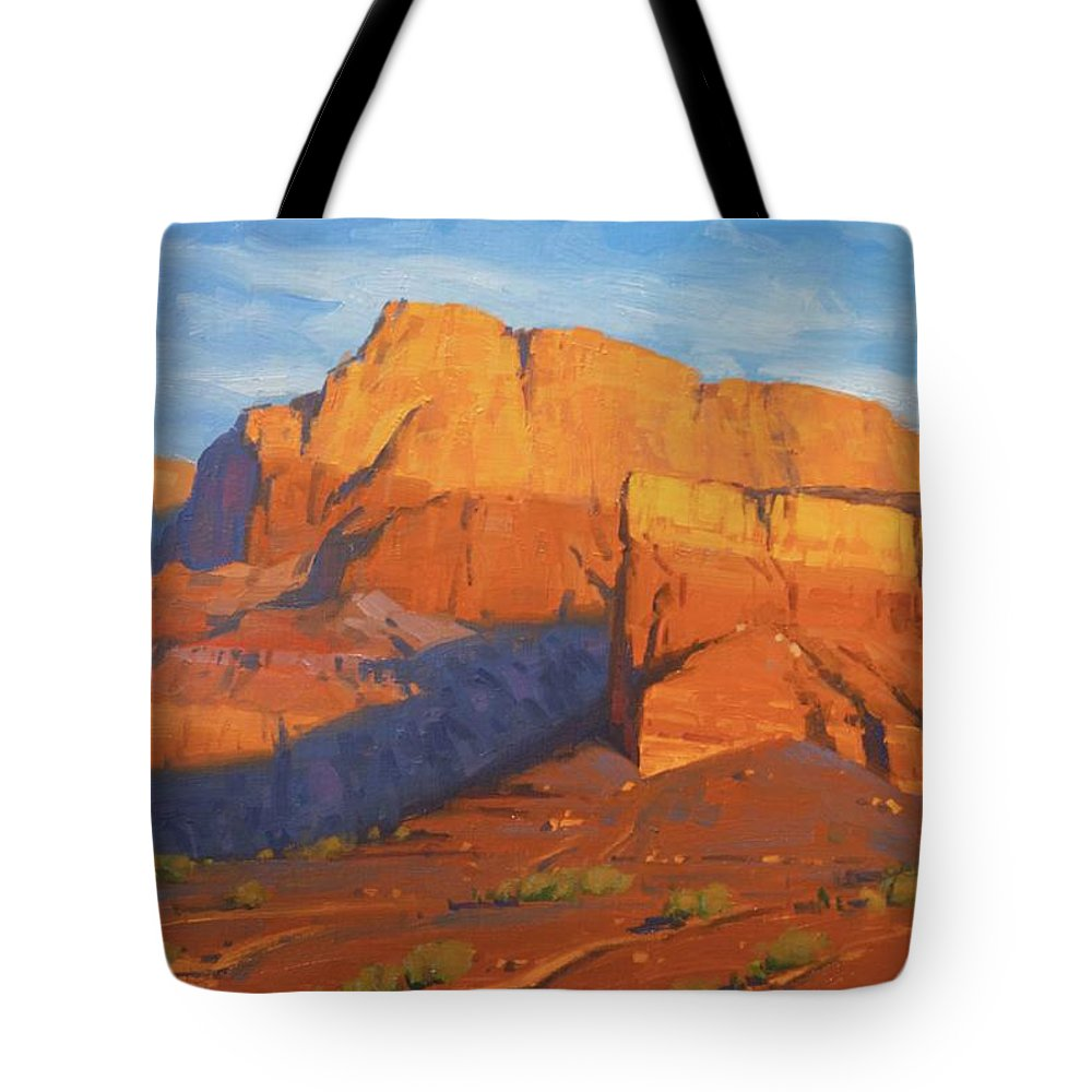 Vermillion Cliffs Tote Bag featuring the painting Vermillion Cliffs Morning by Cody DeLong