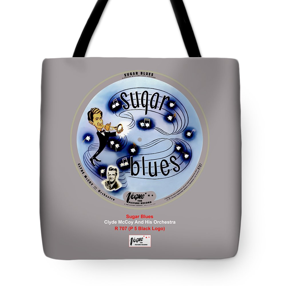 Vogue Picture Record Tote Bag featuring the digital art Vogue Record Art - R 707 - P 5, Black Logo by John Robert Beck