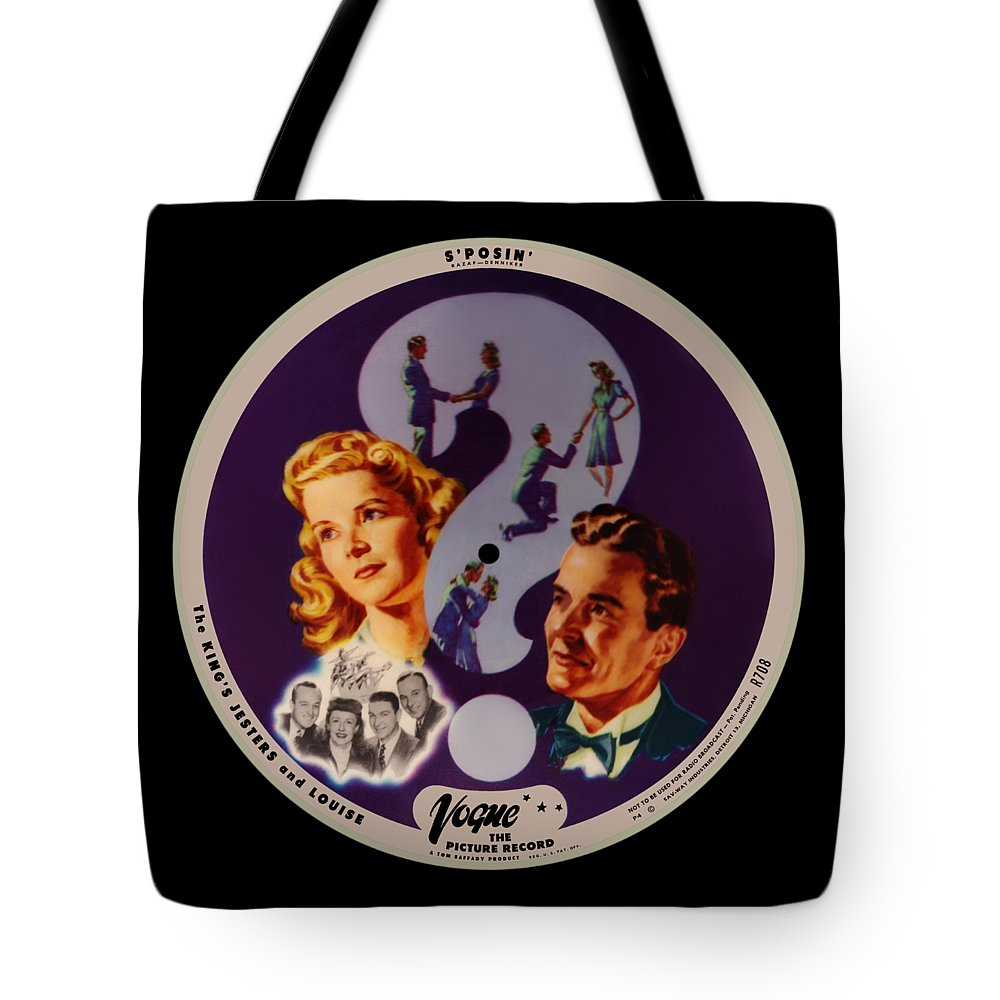 Vogue Picture Record Tote Bag featuring the digital art Vogue Record Art - R 708 - P 4 - Square Version by John Robert Beck