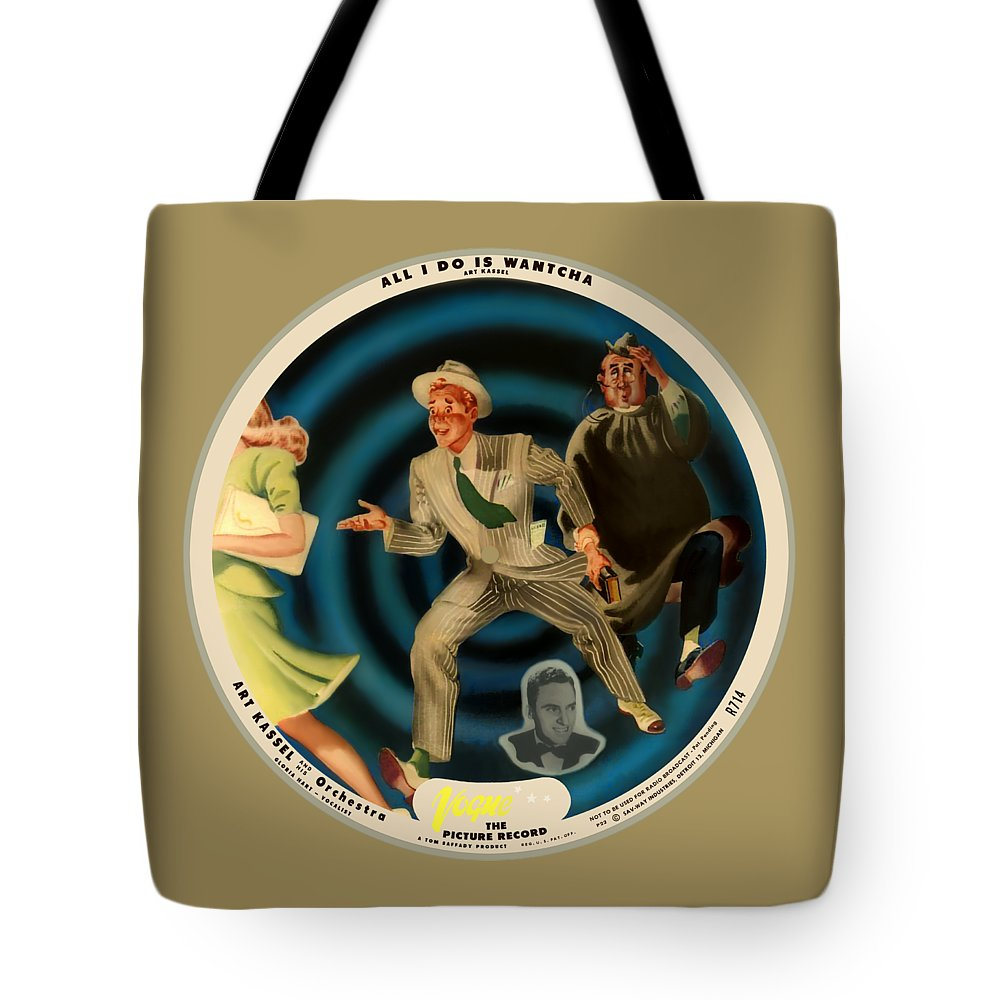 Vogue Picture Record Tote Bag featuring the digital art Vogue Record Art - R 714 - P 22, Yellow Logo - Square Version by John Robert Beck