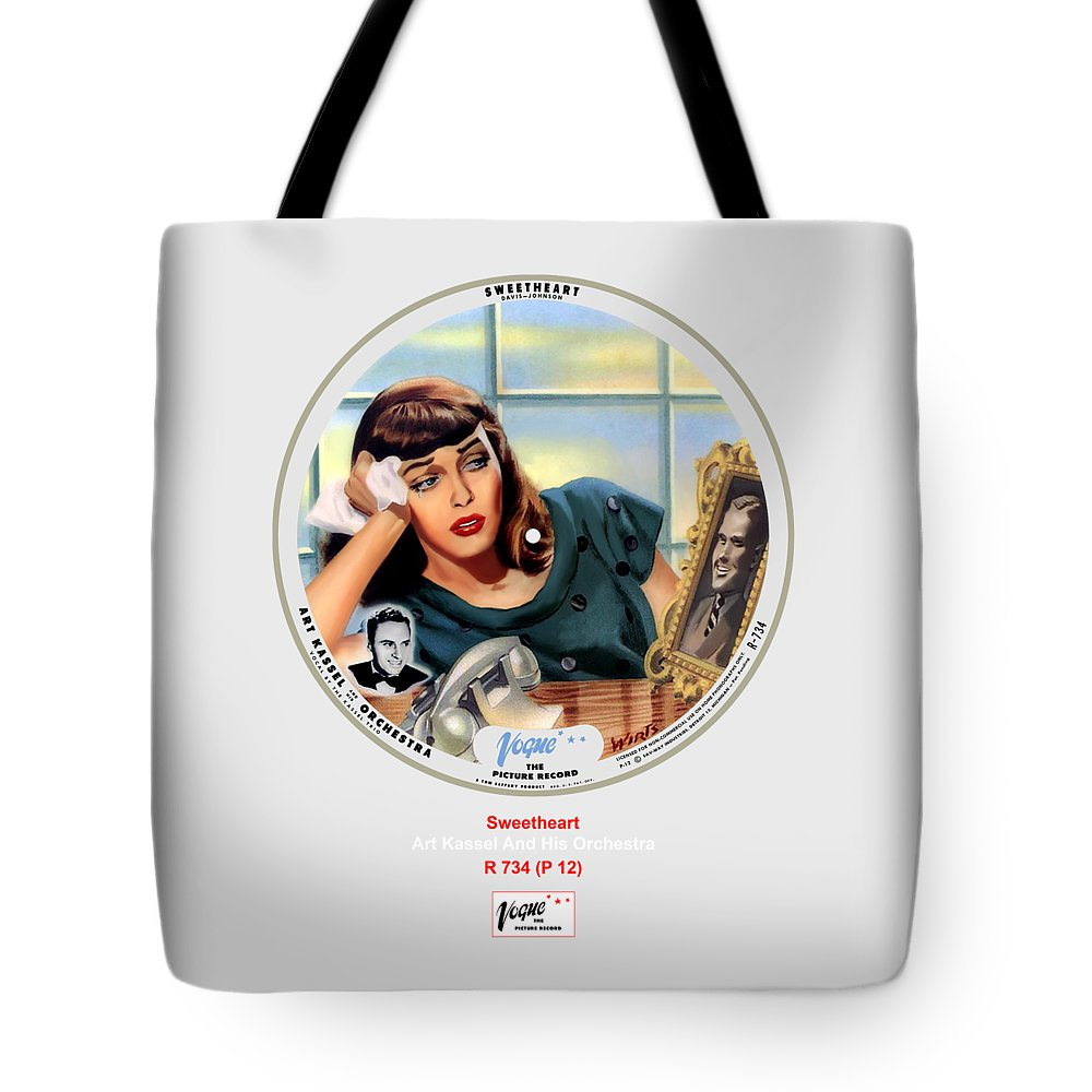 Vogue Picture Record Tote Bag featuring the digital art Vogue Record Art - R 734 - P 12 by John Robert Beck