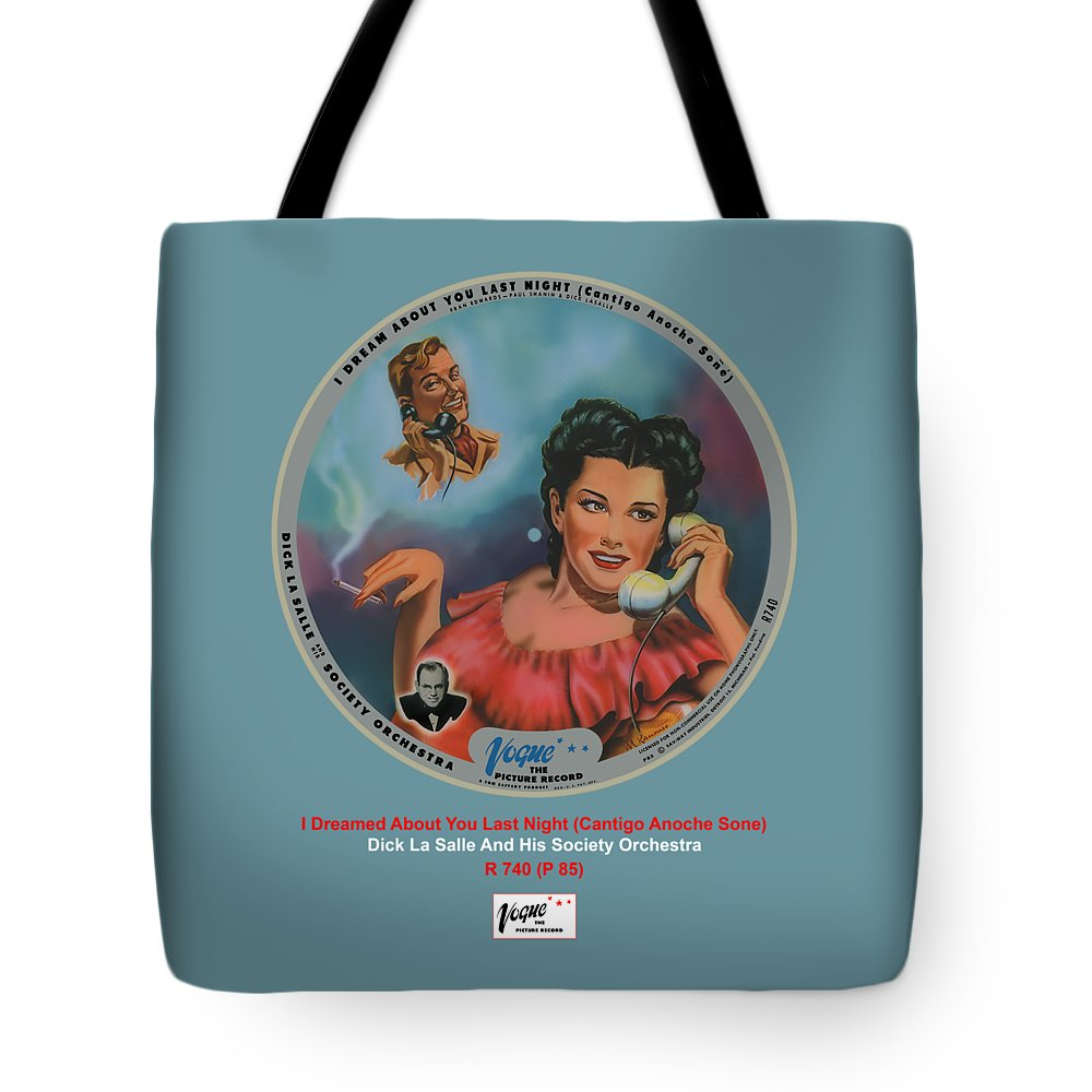 Vogue Picture Record Tote Bag featuring the digital art Vogue Record Art - R 740 - P 85 by John Robert Beck