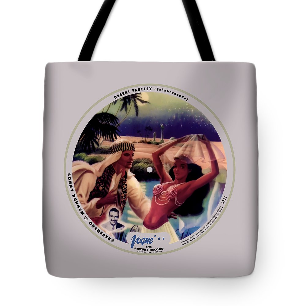 Vogue Picture Record Tote Bag featuring the digital art Vogue Record Art - R 774 - P 141 - Square Version by John Robert Beck