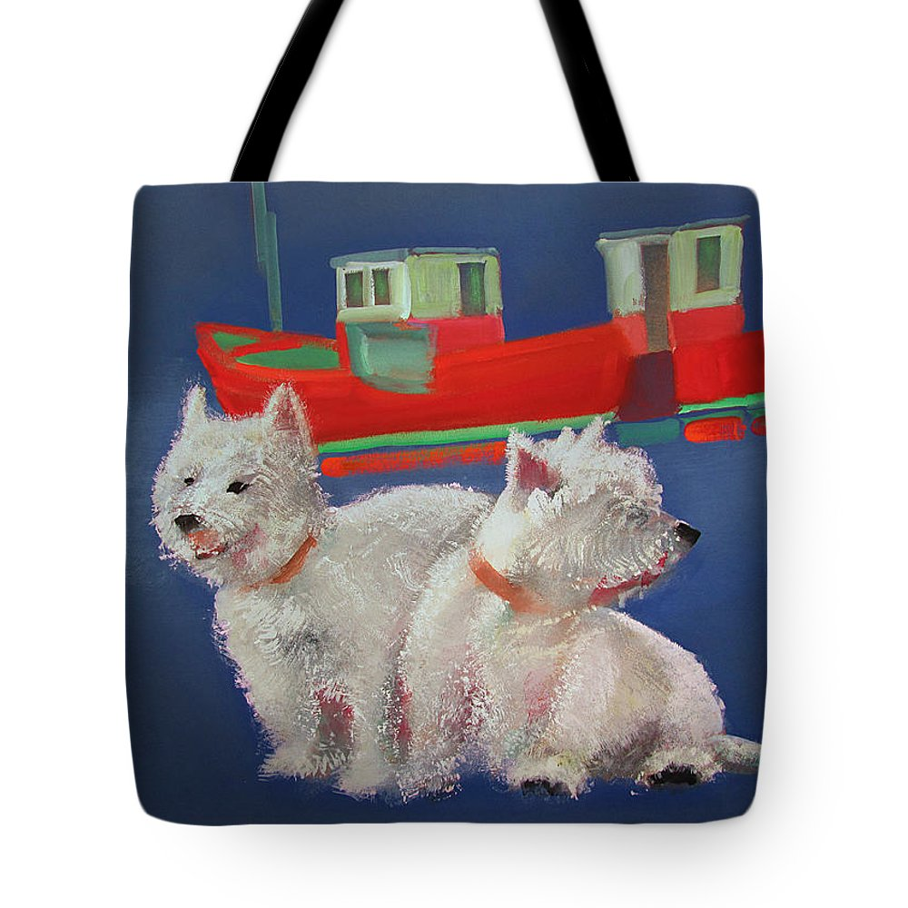 White Terriers Tote Bag featuring the painting Walberswick Red Trawlers by Charles Stuart