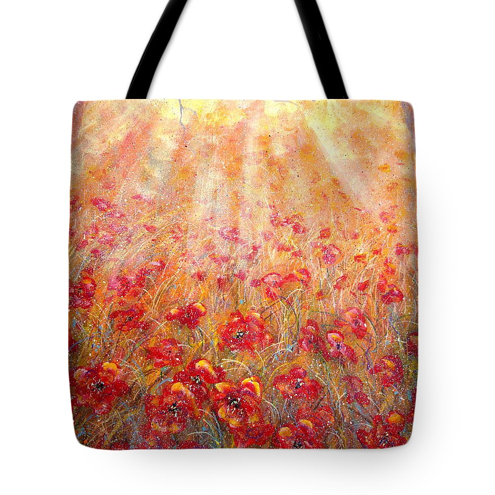 Landscape Tote Bag featuring the painting Warm Sun Rays by Natalie Holland