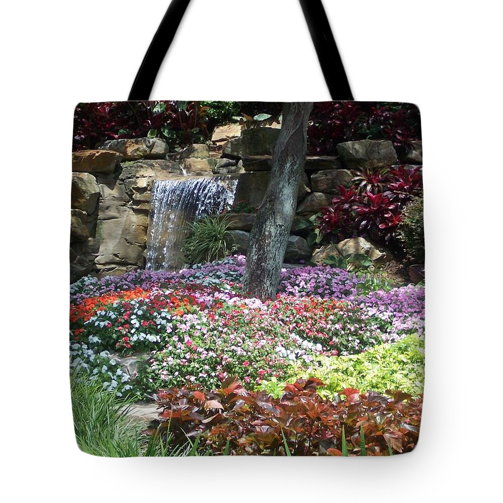 Garden Tote Bag featuring the photograph Waterfall Garden by Pharris Art