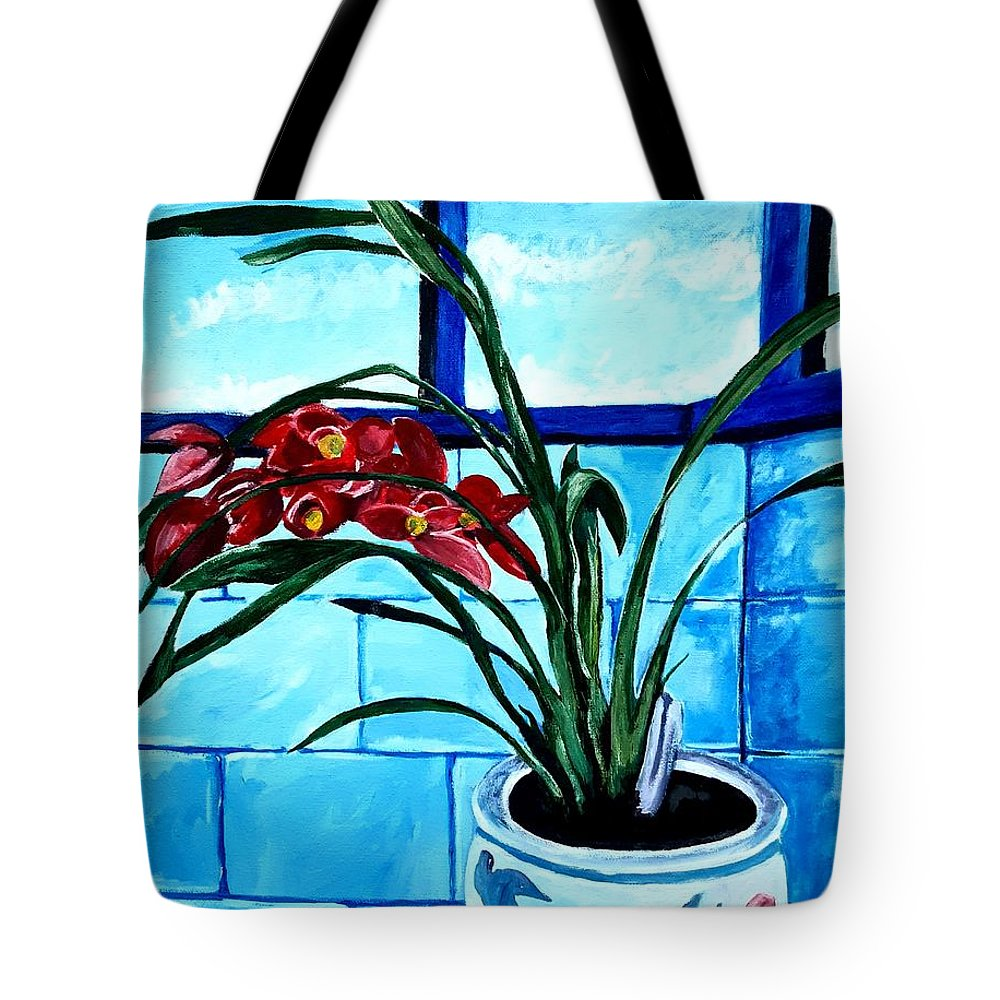 Still Life Tote Bag featuring the painting Welcome Flower by Andrew Johnson